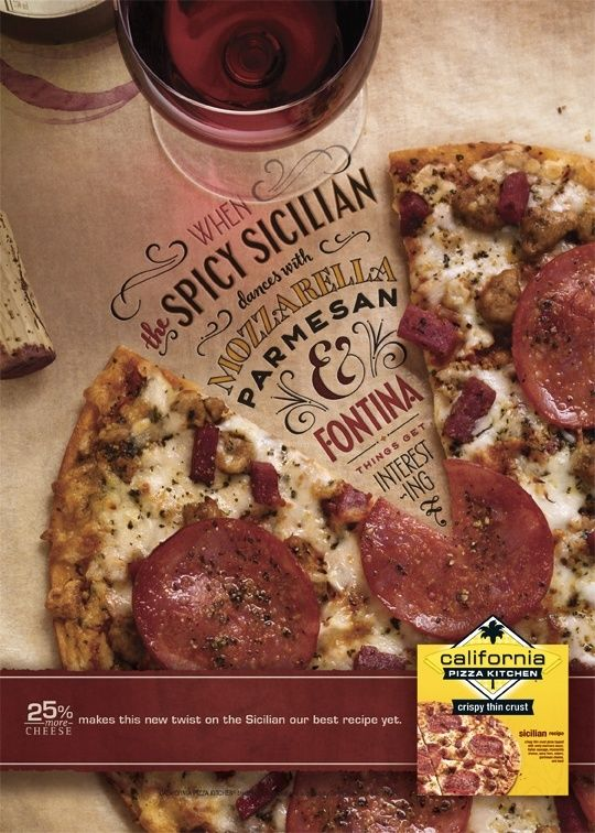 Excellent use of negative space in the pizza to put type. The fonts are fancy, but they feel contained within the slice. I don't like the band along the bottom with the other image, but this is a really nice otherwise.