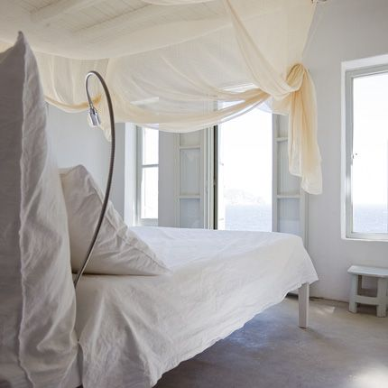 Vosgesparis: Holiday home of Paola Navone in Greece. Perhaps something like this above bed to soften the space
