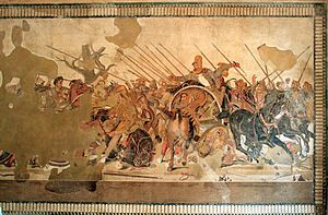 The Alexander Mosaic, dating from circa 100 BC, is a famous Roman floor mosaic originally from the House of the Faun in Pompeii. It depicts a battle between the armies of Alexander the Great and Darius III of Persia and measures 5.82 x 3.13m (19ft x 10ft 3in). The original is preserved in the Naples National Archaeological Museum.