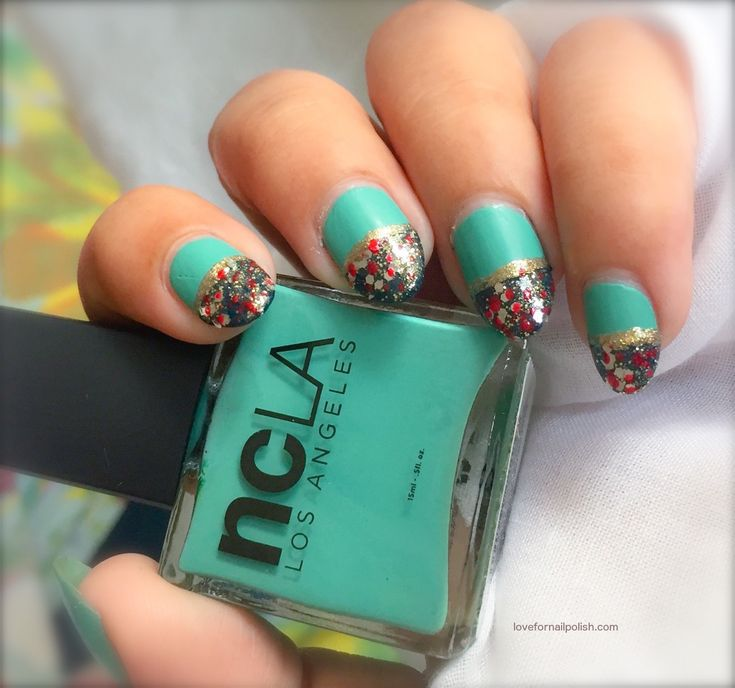 Cute Holiday Nails ~ Mint Green and Teal Nail Art With Glitter and Polka Dots