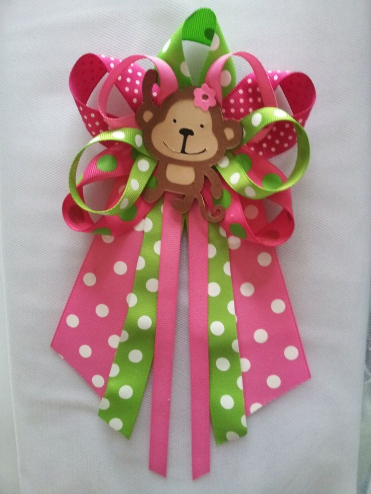 baby shower monkey pins | Monkey girl baby shower pin/corsage by diapercake4less on Etsy, $12.00