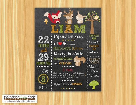 Primo compleanno lavagna Poster creature di ThePaperGiraffeShop