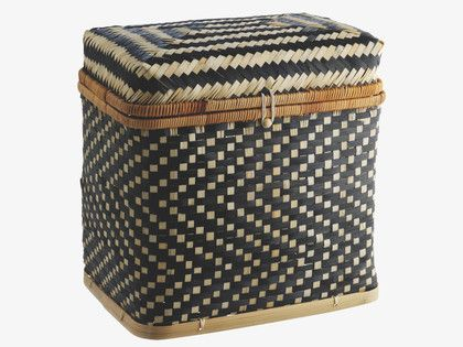 IDAHO BLACK Bamboo Small bamboo lidded storage trunk - HabitatUK