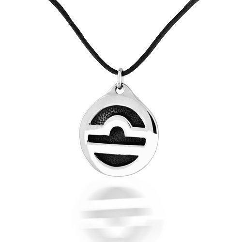 Bling Jewelry Libra Zodiac Medallion Silver Pendant Necklace Leather Cord 30in
