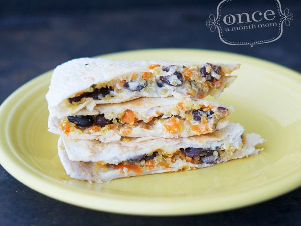black bean, carrot, and goat cheese quesadilla.
