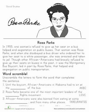 Printables Rosa Parks Worksheets 1000 images about famous americans on pinterest nuest jr black history month second grade worksheets rosa parks historical heroes