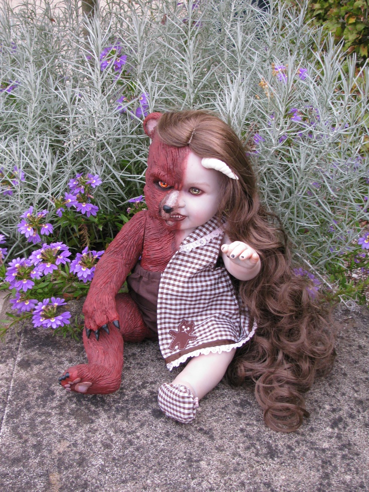 Berangari was custom made for us by the House of Uhl. She's half bear & half doll and not for sale.