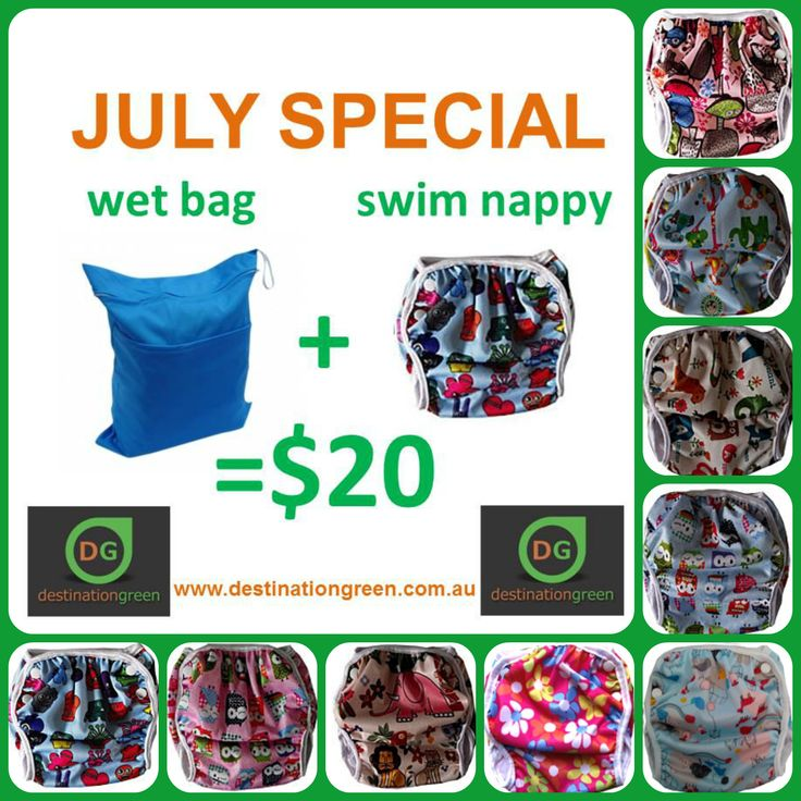 Destination Green Swim Nappy + Wet Bag Special, $20.00