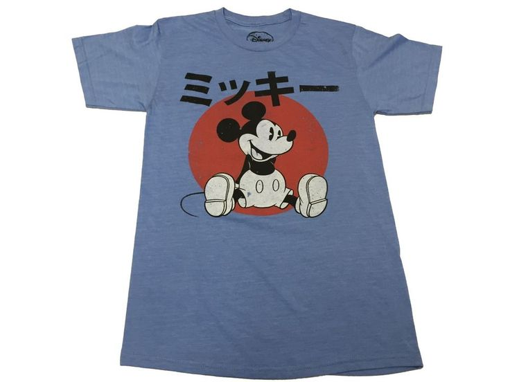 Disney Mickey Mouse Japanese Logo Retro Vintage Men's T shirt S-2XL #Disney #GraphicTee