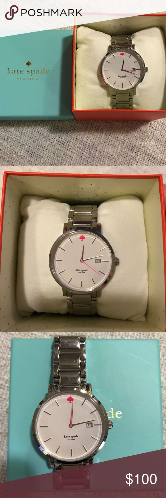 Kate Spade Gramercy Watch Kate Spade stainless Gramercy Watch. Light scratching on the band but not noticeable. Comes with box, book, and extra links. kate spade Accessories Watches