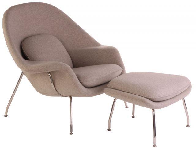 Replica Eero Saarinen Premium Womb Chair and Footstool in Wool | Matt Blatt