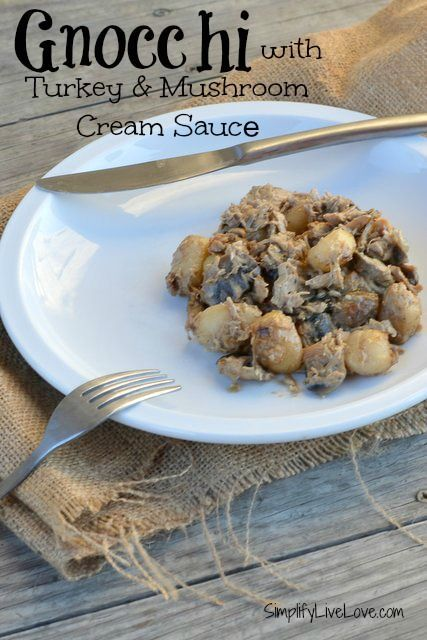 Gnocchi with Turkey & Mushroom Cream Sauce - quick and easy recipe ...