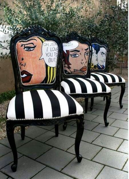 Lichtenstein Chairs.. I wanna know how to reupholster chairs so they look this cool
