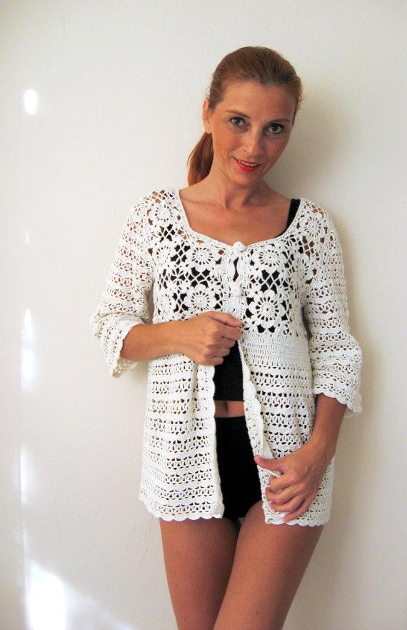 Ivory Wedding Jacket Cotton Crochet