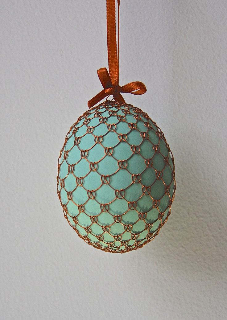 Handmade Copper Wire Wrapped Easter Eggs - Pysanky - Mint by czechegg on Etsy https://www.etsy.com/listing/257750589/handmade-copper-wire-wrapped-easter-eggs