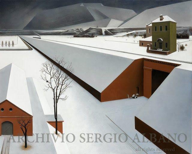 Arriva il treno (Here comes the train) - olio su tavola (oil on panel) - cm 80 x 100 - Executed in 2005