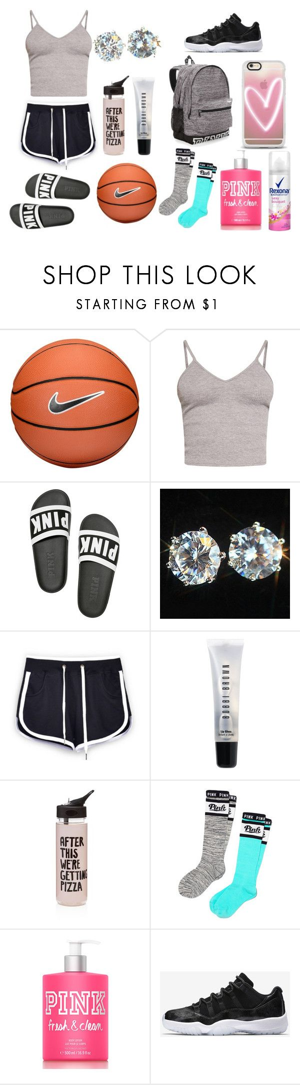 """""""Aiyana inspired #BUGET OF$210"""" by princessaamor on Polyvore featuring NIKE, BasicGrey, Bobbi Brown Cosmetics, ban.do, Victoria's Secret PINK, Victoria's Secret and Casetify"""