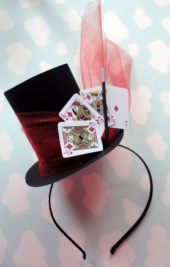 This party hat is perfect for any age including babies to ladies! Its just big enough to say its my party and not too big to get embarrassed. Use it as a prop for photographs or to wear and have fun. This listing is for two top hats with playing cards, tuille and a little extra bling if you so desire. ** This party hat headband measures about 4 tall from the scalp ** Each one is hand made and will vary slightly from the one in the photo **  Want a different fabric? Copy and paste this link…