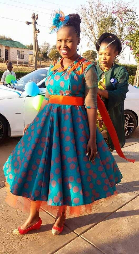 # Le African Bride in a dress made of Shweshwe cloth #MadAboutShweshwe