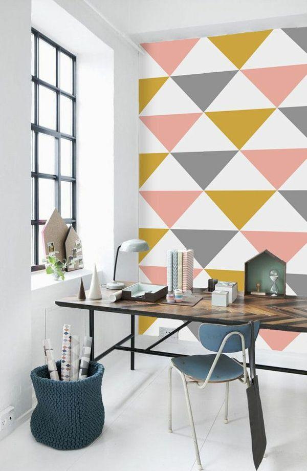 wandideen arbeitszimmer wandgestaltung ideen mustertapeten farbige dreiecken