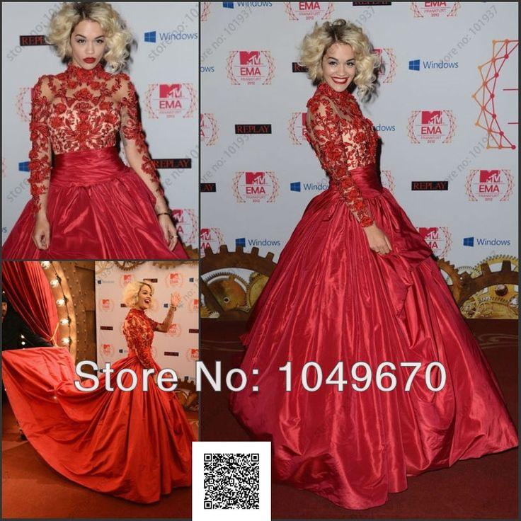 """Aliexpress.com: Comprar Encargo Rita Ora en la MTV EMA """" s 2013 tafetán Celebrity Dresses Red balón vestido de manga larga alfombra roja vestidos noche F de vestido de Alice fiable proveedores en Dresses Outlet Online"""