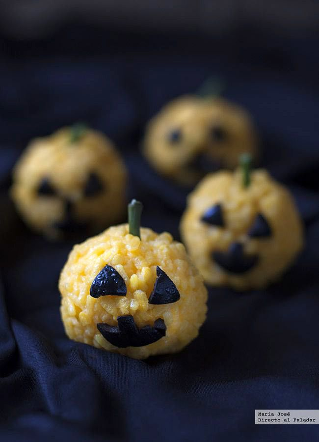 Calabacitas de arroz. Receta de Halloween