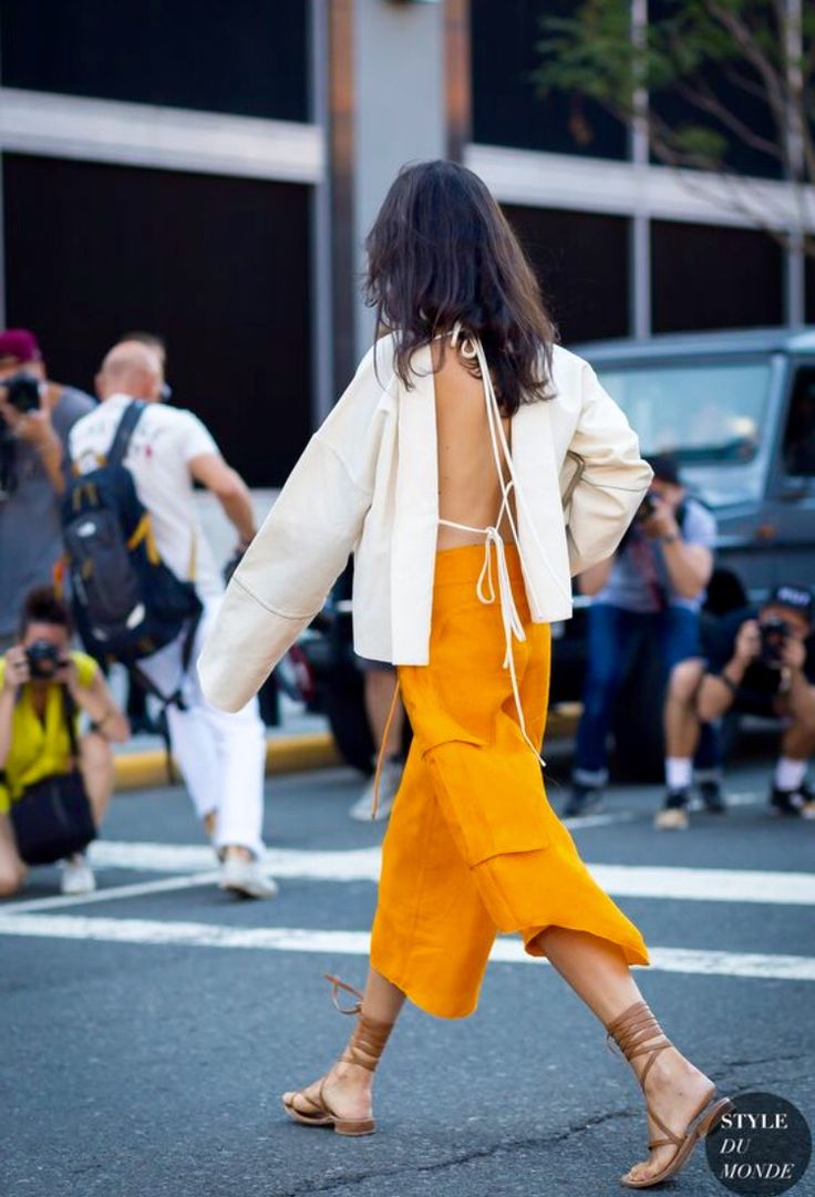 Marigold wide leg culottes, backless white blouse, spring summer fashion, effortless comfortable