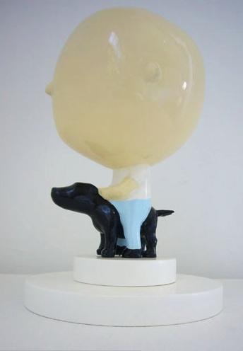 FRANCOIS VAN REENEN 'Dog and Rider' Enamel on resin