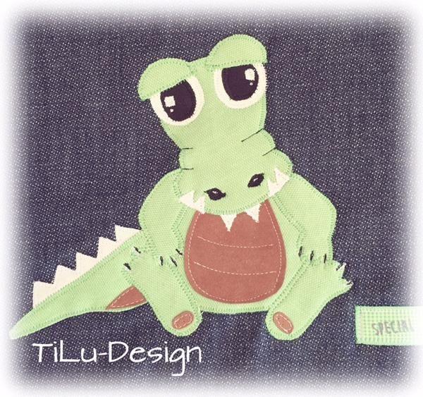 """Applikationsvorlage - """"Kroko"""" - Krokodil - Aligator - Dschungel - Kinder - Applizieren - Applikation - TiLu Design"""