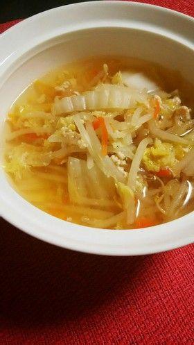 簡単!鶏挽き肉と白菜もやし中華スープ。 by こまかぁさん☆ 【クックパッド】 簡単おいしいみんなのレシピが281万品