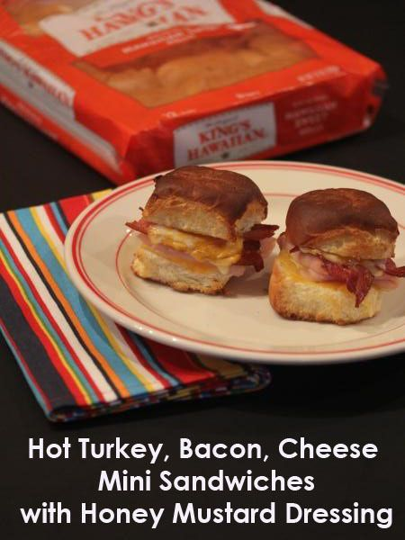 Hot Turkey, Bacon, Cheese Mini Sandwiches with Honey Mustard Dressing ...