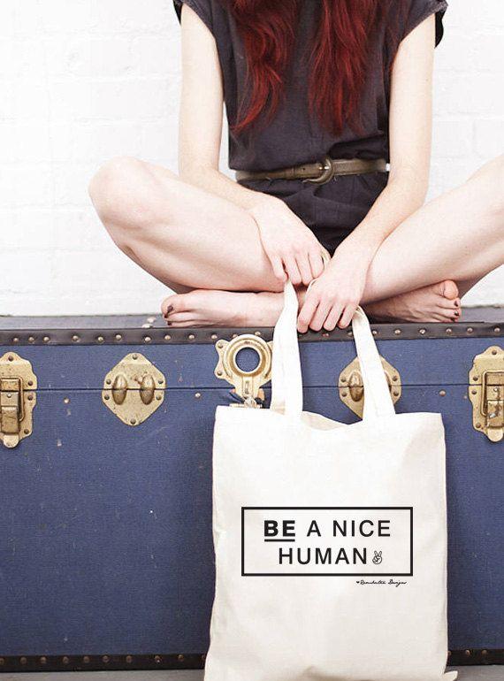 Organic Cotton Shopper Bag  Be Nice  Hand by Rambutandesigns