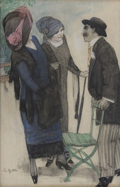 Leendert 'Leo' Gestel (Woerden 1881-1941 Hilversum) - Conversation on the boulevard; Creation Date: 1910; Medium: pastel, charcoal on paper