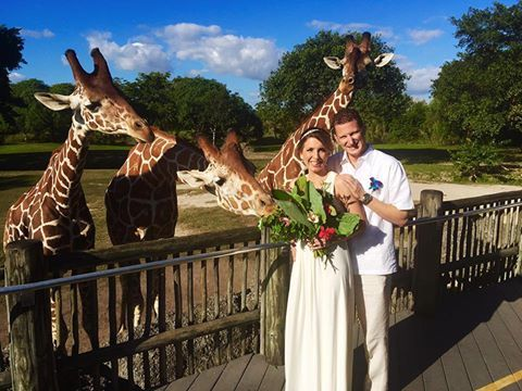Congratulations to Rosa and Ryan who were married recently at Zoo Miami accompanied by family, friends, and the giraffes!