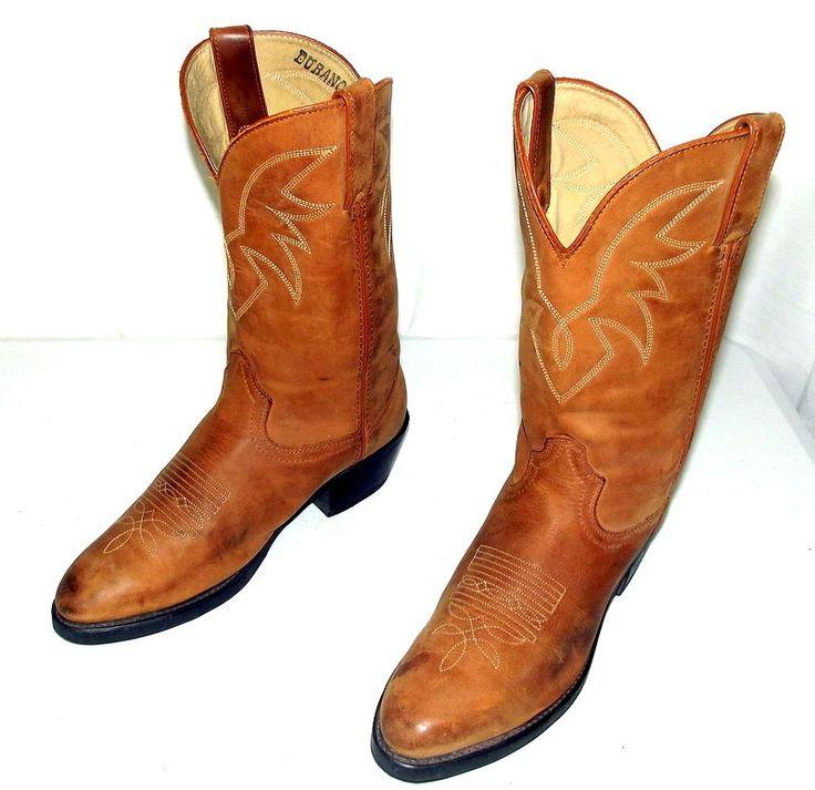 Mens 8 D Cowboy Boots Durango Tan Brown Leather Shoes Western Country Urban VTG #Durango #CowboyWestern