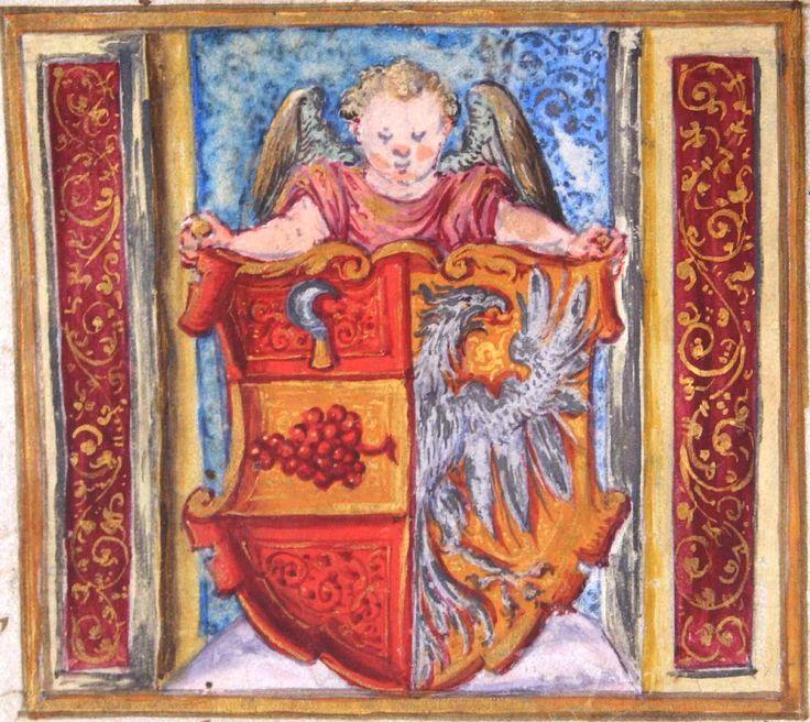 Hustopeče (Auspitz) Geschichte: Am 15. Februar 1572 erhob Maximilian II. als römischer Kaiser, König von Böhmen und Markgraf von Mähren […] (acte d'attribution des armes à la ville, détail) -- «Der Schild des bis heute gebrauchten Wappen ist gespalten; vorne in Rot auf goldenem Balken eine rote Traube, darüber im roten Feld ein Winzermesser; hinten in Gold am Spalt ein halber silberner, rot bezungter Adler». -- See also at: http://www.muzeumhustopece.cz/a/2011-geschichte01/full/6.jpg
