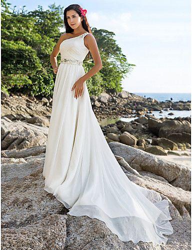 Beach Wedding Dresses A Line One Shoulder Chapel Train