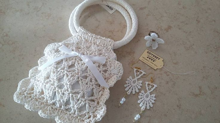Crochet bag, earings and flower ring