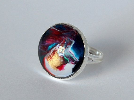 Galactic Wedding Ring  hand painted glass statement by JeweleaBlue