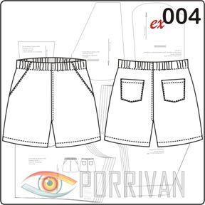 Выкройка мужских шорт для сайта была построена одной из первых. Номер в каталоге 004. Шорты короткие, шить можете из самых разных тканей, на трикотаж и эла