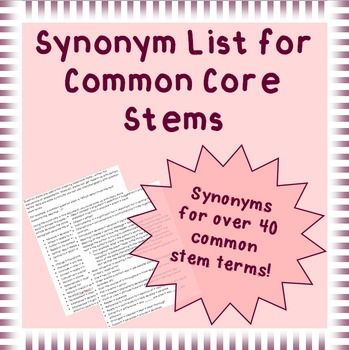 "FREE 6-12  Common stem terms, like ""text"" and gives a variety of synonyms for that term (i.e. passage, article, excerpt, paragraph, essay, etc.)"