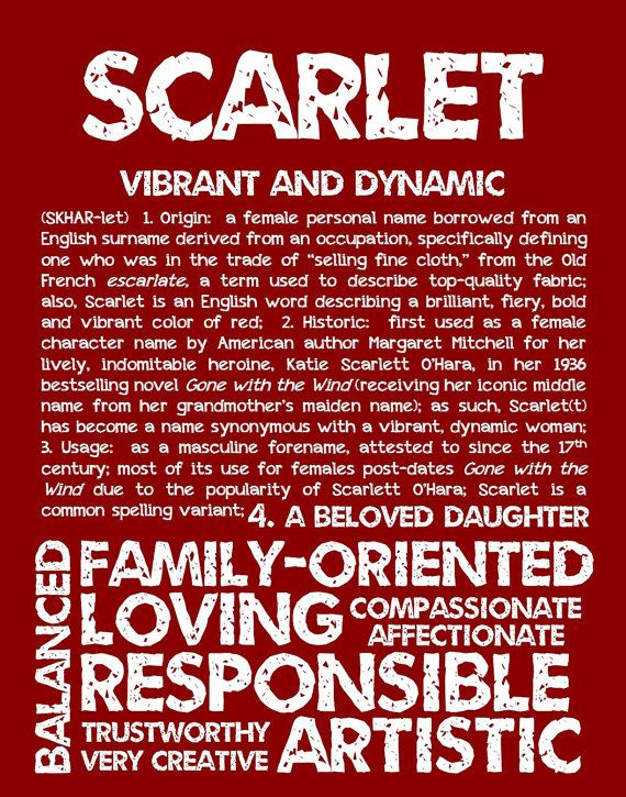 SCARLET Personalized Name Print / Typography Print by ...