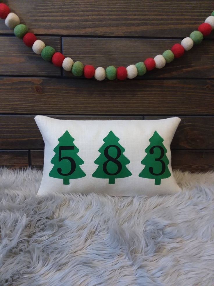 Christmas Outdoor Burlap Address Evergreen Tree Number Zip Code Pillow by TheWestGarden on Etsy