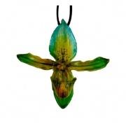 Green-Paphiopedilum Barbatum Necklace $65