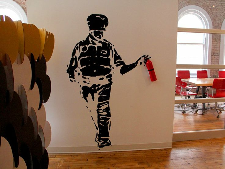 aol venture office - stenciled artwork on wall, created by an aol venture partner