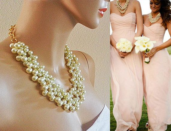 bridesmaid pearl necklace bridal chunky by