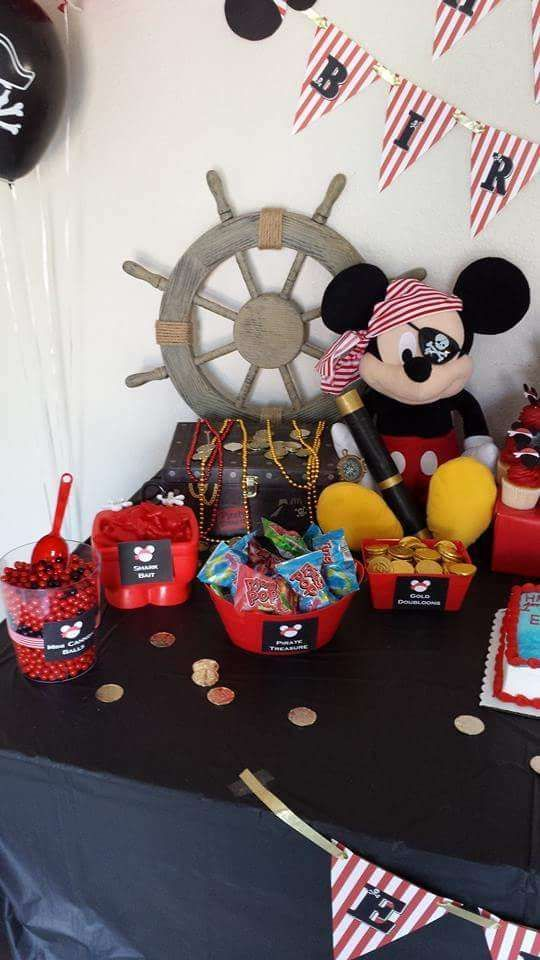 Pirate Mickey Mouse birthday party! See more party planning ideas at CatchMyParty.com!
