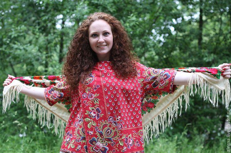 Купить блузка ,, барановские разлетайные,, - ярко-красный, цветочный, платки, русский стиль, русская традиция