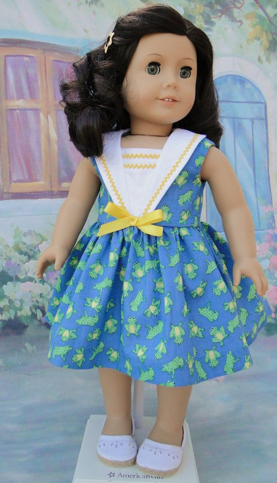 Summer Sailor dress for 18 inch doll by dancingwithneedles on Etsy