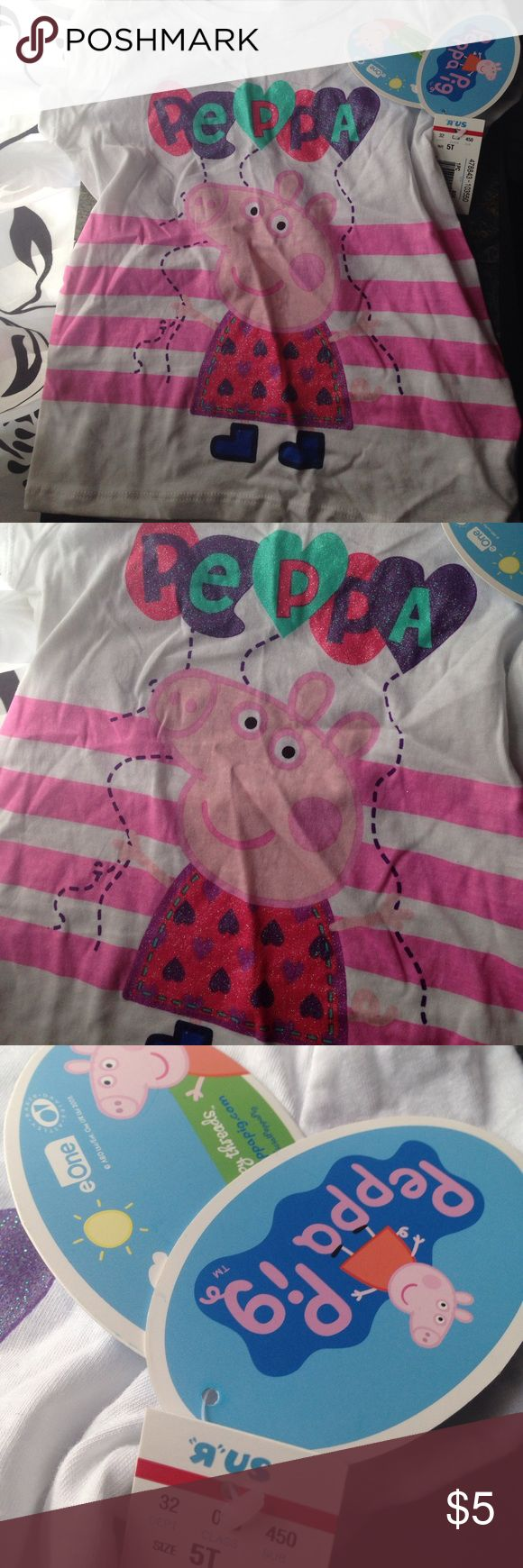 Peppa pig girls shirt 5t white short sleeve Peppa pig white shirt sleeve shirt with Peppa and balloons! Shirts & Tops Tees - Short Sleeve